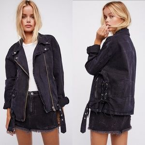 Free People Black Denim Oversize Moto Jacket